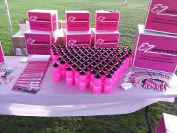 Branded pink bottles